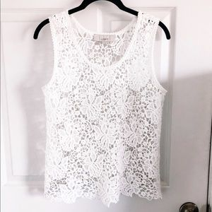 Ann Taylor LOFT White Crochet Tank Top XS